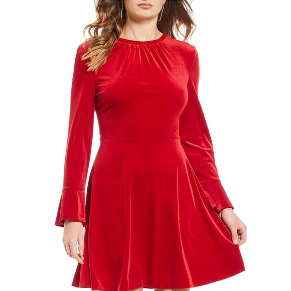 A LOVES A Dresses & Skirts - $149 NWT Red Velvet Bell Sleeve Dress